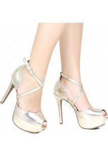 Sapato Zariff Peep Toe Metalizado