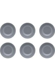 Conjunto 6 Pratos Fundos Oxford Unni Cerâmica Cinza