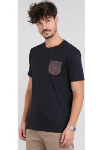 Camiseta Masculina Com Bolso Estampado Animal Print Manga Curta Gola Careca Preta