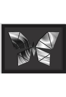 Quadro Decorativo Em Relevo Espelhado Borboleta Prateada Preto - Médio