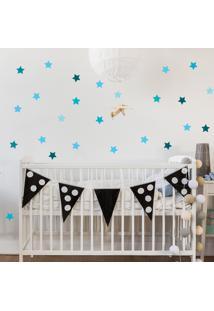 Adesivo De Parede Quartinhos Infantil Estrelas Azul