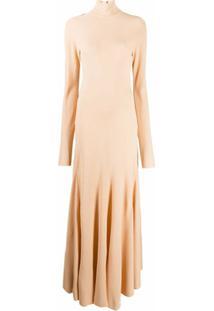 Bottega Veneta Vestido Longo Com Gola Alta - Rosa