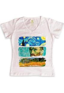 Camiseta Feminina Gola V Cool Tees Van Gogh - Feminino-Rosa