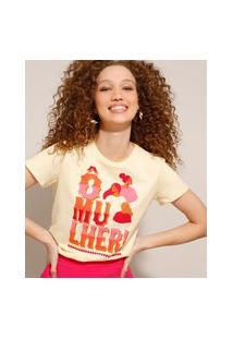 """Camiseta De Algodão Com Estampa Ô Mulher"""" Manga Curta Amarelo Claro"""""""