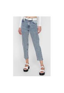 Calça Cropped Jeans Oh, Boy! Slim Recortes Azul