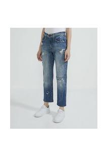 Calça Boyfriend Em Jeans Com Puídos   Blue Steel   Azul Claro   42