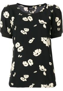 A.P.C. Blusa Com Estampa Floral - Preto