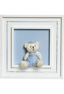 Quadro Príncipe Com Urso Boné Bebê Infantil Potinho De Mel Azul