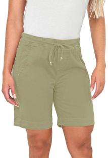 Bermuda Jogger Bloom Color Em Sarja De Moletom Verde Natureza
