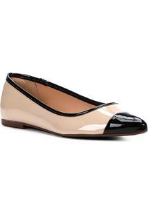 Sapatilha Shoestock Bicolor Bico Fino Feminina - Feminino-Bege+Preto