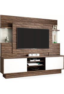 Estante Para Tv De Até 55 Polegadas, Com 2 Portas Deslizantes, Cacau Com Off White, Belize Wood Ii