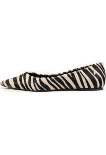 Sapatilha Positano Bico Fino Couro Pelo Zebra Pb - Zebra - Feminino - Couro - Dafiti