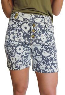 Bermuda Jeans Axia Shop Floral Azul