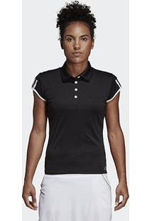 Camisa Polo Adidas Club 3 Stripes Feminina - Feminino-Preto