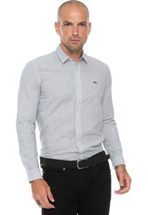 Camisa Lacoste Slim Listras Cinza