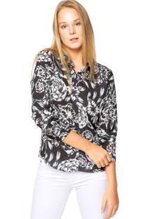 Camisa Colcci Floral Preta/Branca
