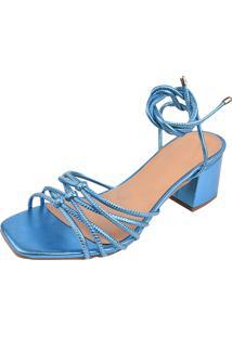 Sandalias Salto Quadrado Dona Madame 010201 Azul