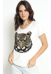 Blusa Tigre Com Bordado Em Pedrarias- Off White- Cavcavalari