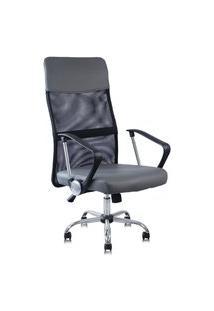 Cadeira Presidente Detroit Giratória Cinza Encosto Preto