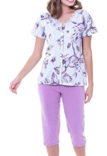 Pijama Feminino Curto Com Abertura Podiun 225047 M