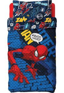 Colcha Dupla Face Solteiro Estampada Bouti Spider Man 1,60 M X 2,20 M Com 2 Peças - Produto Importado Lepper Azul