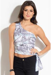 Blusa Quintess Cropped Com Estampa De Tigres