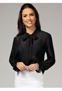 Blusa Preta Com Faixa Para Amarrar No Pescoço