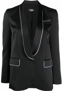 Karl Lagerfeld Piped-Trim Satin Blazer - Preto