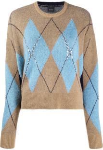 Pinko Argyle Sequin Knit Jumper - Marrom