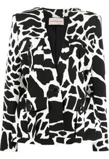 Alexandre Vauthier Animal-Print Single Breasted Jacket - Branco