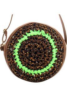 Bolsa Birô Cantil Crochê Coloridos Feminina - Feminino-Verde