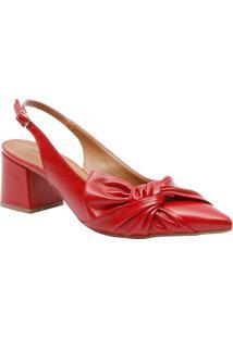 Sapato Chanel Em Couro Com Laço Frontal- Vermelho- Sle Rossi
