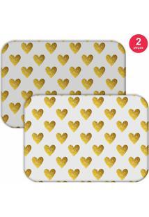 Jogo Americano Love Decor Corações Yellow Branco/Amarelo