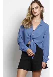 Camisa Cropped Com Amarração & Botões- Azulchocoleite