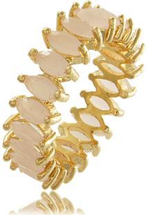 Anel Viva Jolie All Navete Quartzo Rosa Ouro 18K