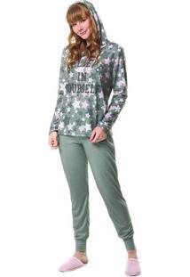 Pijama De Inverno Com Gorro Feminino Adulto