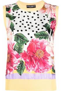 Dolce & Gabbana Blusa Com Estampa Floral De Seda - Amarelo