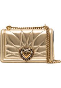 Dolce & Gabbana Bolsa Transversal Devotion Matelassê Pequena De Couro - Metálico