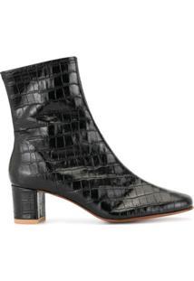 By Far Ankle Boot Sofia Com Efeito Pele De Crocodilo - Preto