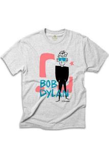 Camiseta Música Cool Tees Quadrinhos Caco Galhardo Bob Dylan Masculina - Masculino-Mescla Claro