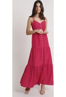 Vestido Feminino Mindset Longo Com Recortes E Botões Alça Fina Rosa Escuro