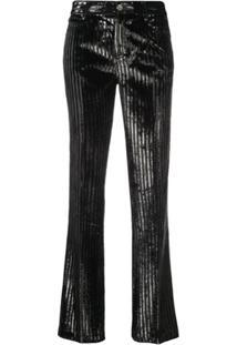 Giambattista Valli Metallic Striped Trousers - Preto
