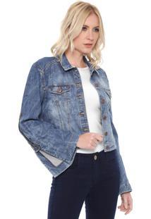 Jaqueta Jeans Cropped Carmim Sagres Azul