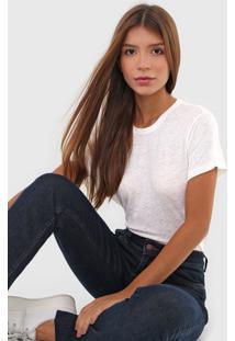 Camiseta Linho Polo Ralph Lauren Flam㪠Off-White - Off White - Feminino - Linho - Dafiti