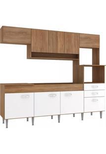 Cozinha Compacta Novo Tempo Anita 9 Portas E 2 Gavetas - Amêndoa/Branco