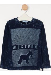 "Camiseta Estonada ""Western"" - Azul Marinho & Cinza- Oliver"