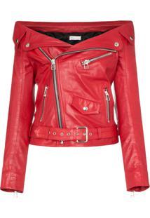Faith Connexion Off-Shoulder Zipped Leather Jacket - Vermelho