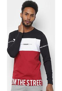 Camiseta Overcore Manga Longa Estampada Bicolor Masculina - Masculino-Preto+Vermelho