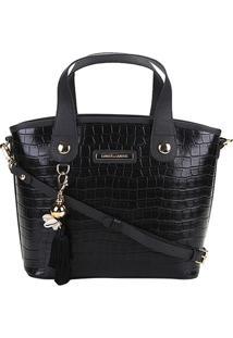 Bolsa Couro Loucos & Santos Handbag Croco Com Chaveiro Feminina - Feminino-Preto