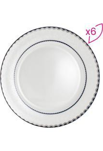 Jogo De Pratos De Jantar Em Porcelana Blue Silver- Off Wrojemac